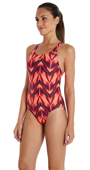 speedo Endurance10 Motionwave Allover Badpak Dames oranje/rood